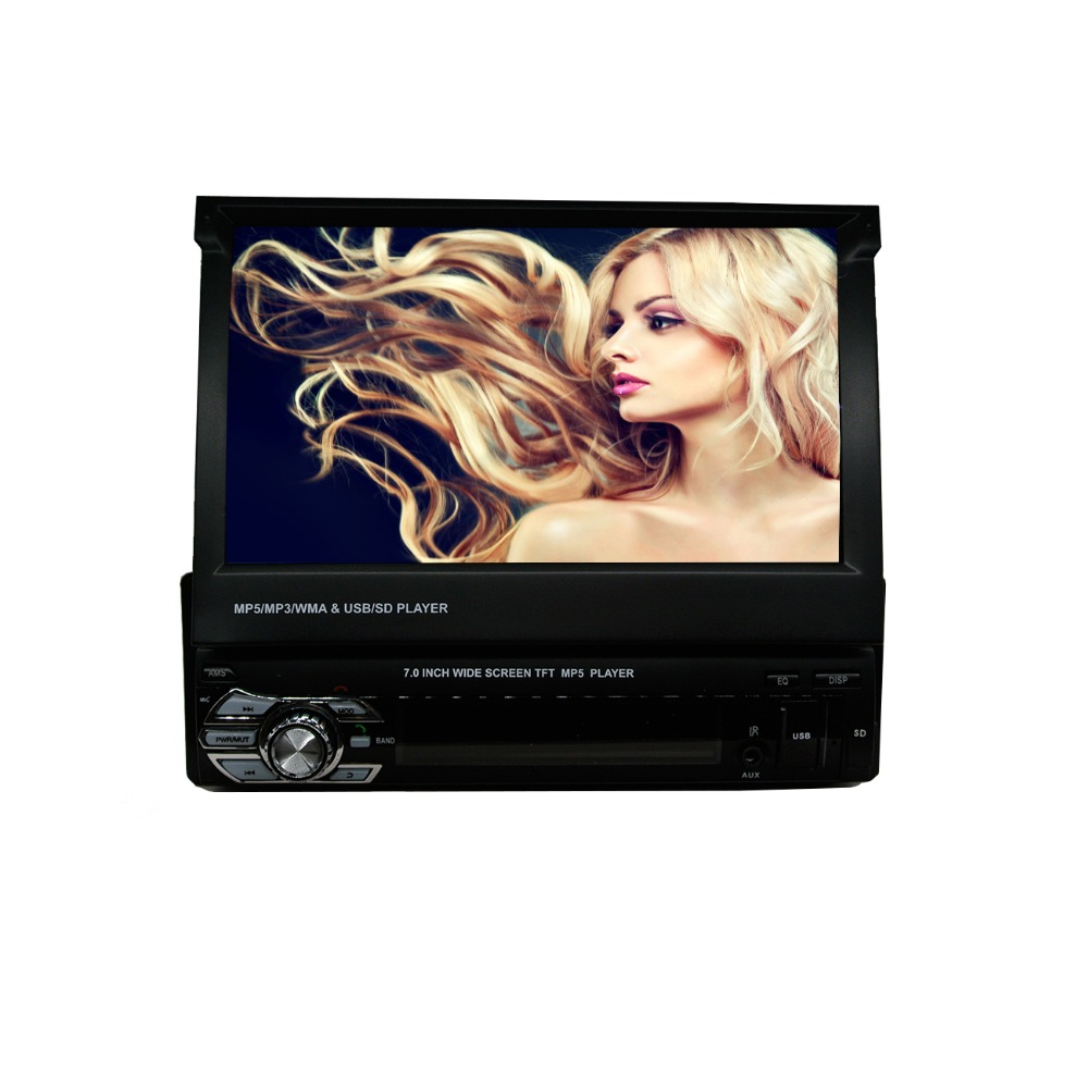 7 inch slip down 1DIN Car Stereo Control FM only Bluetooth MP3 MP4 Player with USB SD Multi-Function Remote Control 1 8 lcd car mp3 mp4 player fm transmitter with remote controller red sd mmc mini usb