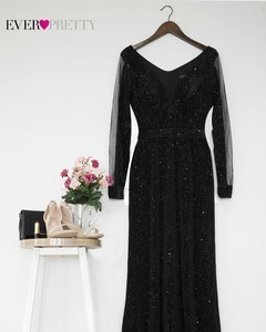Image 4 - Evening Dresses 2019 Long Sleeve Ever Pretty V neck Sparkle Elegant Little Mermaid Autumn Winter Long Formal Party Prom Gowns