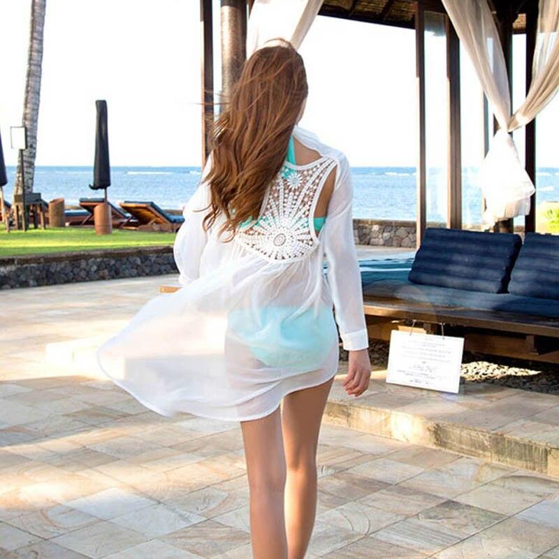 2016 Sexy Swimsuit Cover Ups Playa De Kimono Beachwear Pareos White Cover Up Beach Tunic Sarong Bathing Suits