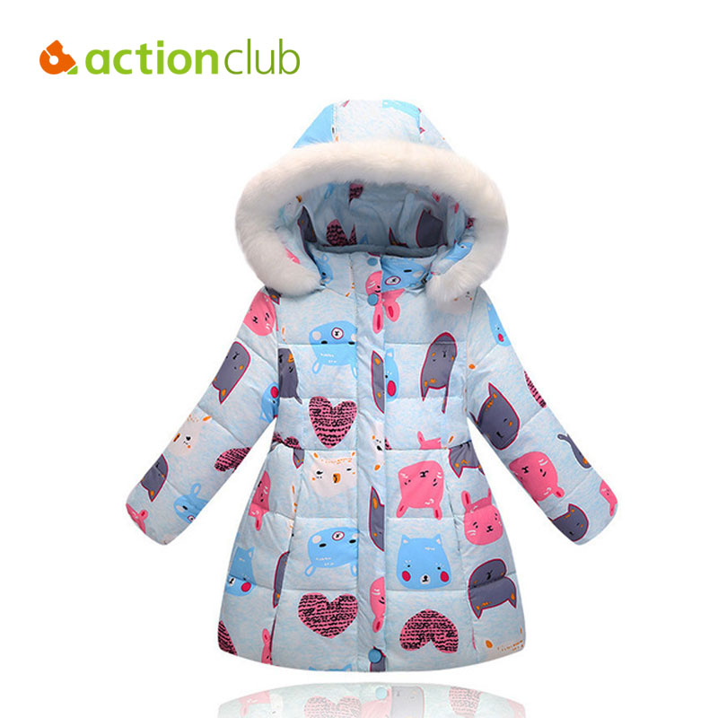 Actionclub Girls Winter Down Jacket Baby Girls Graffiti Print Long Style Coat Children Warm Outerwear Kids Princess Clothing high quality children winter outerwear 2017 baby girls down coats jacket long style warm thickening kids outdoor snow proof coat
