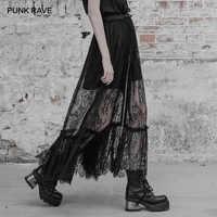 PUNK RAVE Gothic Women Black Long Double Layered Maxi Skirt Goth Fashion Sexy Lace Floral Pattern Long Harajuku Skirts Womens
