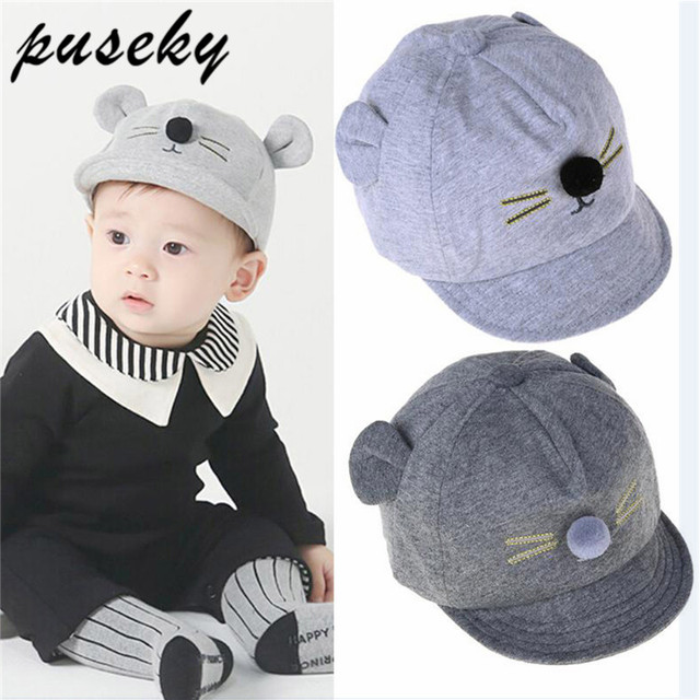 b06fa7835ffe1 Puseky Cartoon Cat Design Baby Hat Baseball Cap Cute Cotton Baby Boys Girls  Summer Sun Hat Spring Autumn Peaked Cap-in Hats   Caps from Mother   Kids  on ...