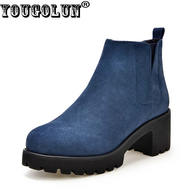 YOUGOLUN Women Ankle Boots Genuine Nubuck Leather 2017 Autumn Cow Suede Square Heel 6 cm High Heels Blue Platform Shoes #Y-216 yougolun women ankle boots 2017 autumn black genuine leather square heel 5 cm heels thick heel round toe platform shoes y 061
