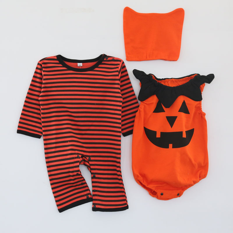 Image 4 - Baby girl cotton outfit strawberry costume full sleeve romper+hat+vest infant halloween festival photography clothingRompers   -