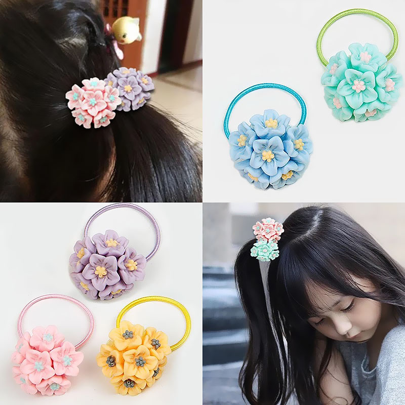 LNRRABC 5Colors Cute Sweet Ponytail Hair Rope Flowers Elastic Hair Bands Women Girls Hair Accessories Headwear Hair Jewelry lnrrabc women imitation pearls butterfly hair rope charm crystal rubber headband ponytail gum elastic hair bands headband gift