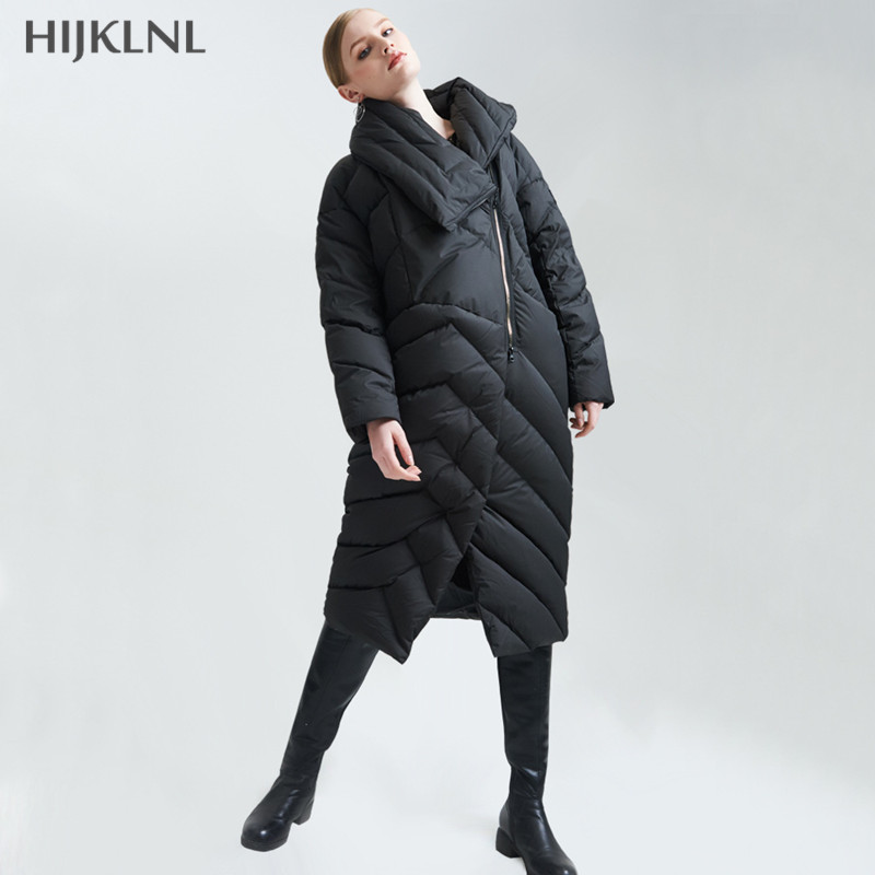 HIJKLNL Fashion Outwear   Down     Coat   2019 New Arrival European Winter Women Big Zipper Slim Long Duck   Down   Jacket Female LH1264