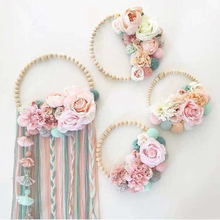 Nordic Ornament Baby Kids Room Decoration Wooden Beads Garland Tassel Wall Hanging Decoration Wind Chimes Photography Props