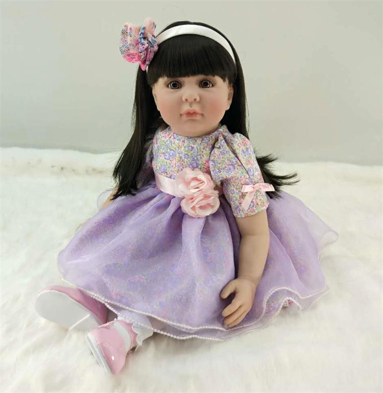 Pursue 24/60 cm Beautiful Purple Dress Silicone Reborn Toddler Princess Girl Baby Doll Toys for Children Girls Birthday Gifts original winx club bloom musa beautiful girl magiche fan doll collection toys