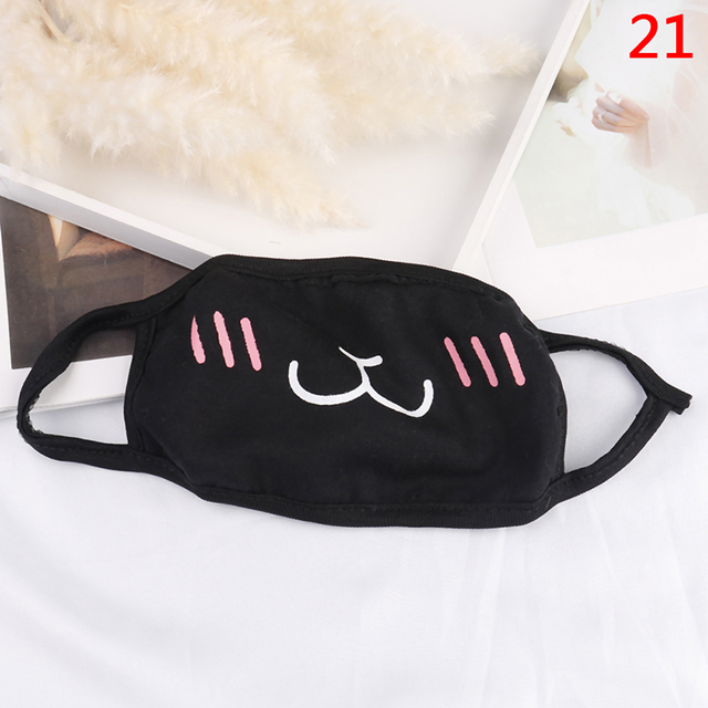 1PC Black Anti-Dust Cotton Cute Bear Anime Cartoon Mouth Mask Kpop Teeth Mouth Muffle Face Mouth Masks Women Men 5