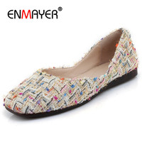 ENMAYER Loafer Shoes Woman Mixed Colors D Orsay Flats Round Toe Shallow Spring Autumn Plus Size