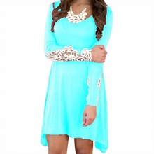 Women Loose Top Long Sleeve Crochet Lace Party Short Dress Casual Fashion New