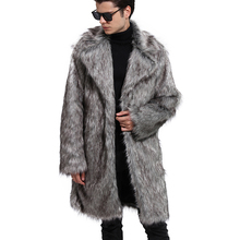 Fashion Autumn Winter Men Thick Warm Faux Fur Coat Long Sleeve Turn down Collar Casual Male