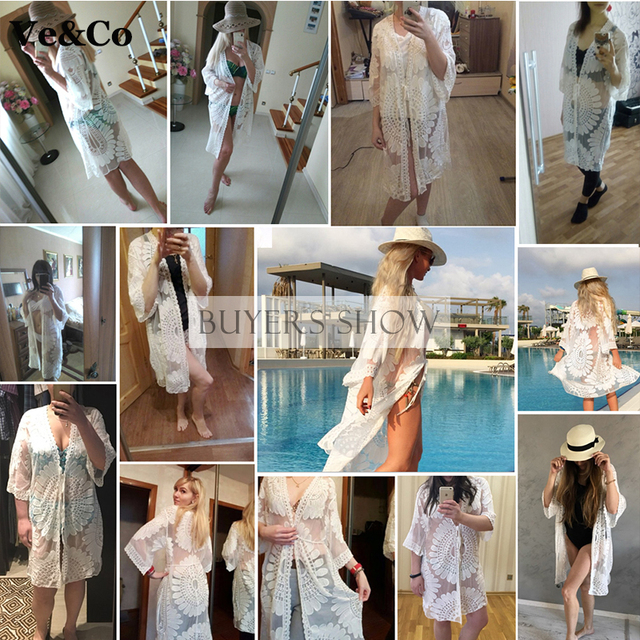 2017 Beach Cover Up Floral Embroidery Bikini Cover Up Swimwear Women Robe De Plage Beach Cardigan Bathing Suit Cover Ups