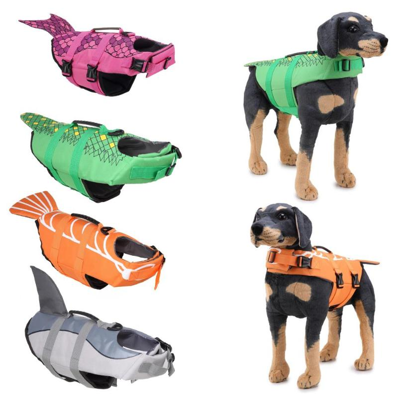 Dog Life Jacket Pet Saver Life Vest Puppy Swimming Preserver Fashion Mermaid Shark Shape Large Dog Clothes For Golden Retriever