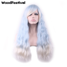 High Temperature Fiber womens wigs Lolita wig long ombre blue wig heat resistant synthetic wigs curly hair WoodFestival adiors long curly side bang high temperature fiber wig