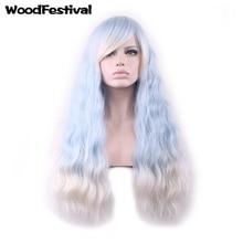Парики с высокими температурами Волоконные парики Lolita парик длинный ombre синий парик жаростойкие синтетические парики вьющиеся волосы WoodFestival