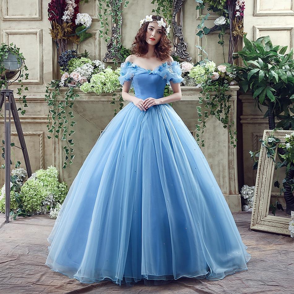 Romantic Organza Prom Dress Blue Off the Shoulder V Neckline Princess Cinderella Cosplay Party Dresses With