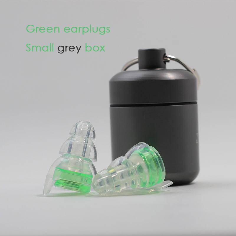Green earplugs + Small grey box
