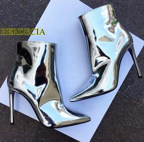 abb4eaf7727 Great fashion woman pointed toe shoes dressed high heel boots metallic  silver stiletto ankle boots