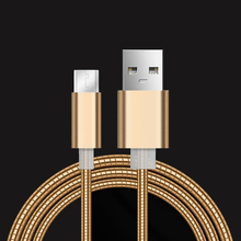 Stainless Steel Metal Fast Charging Data Sync Cable 2A Micro USB for iph 6 7 Samsung S4 S5 S6 S7 Android device  1M