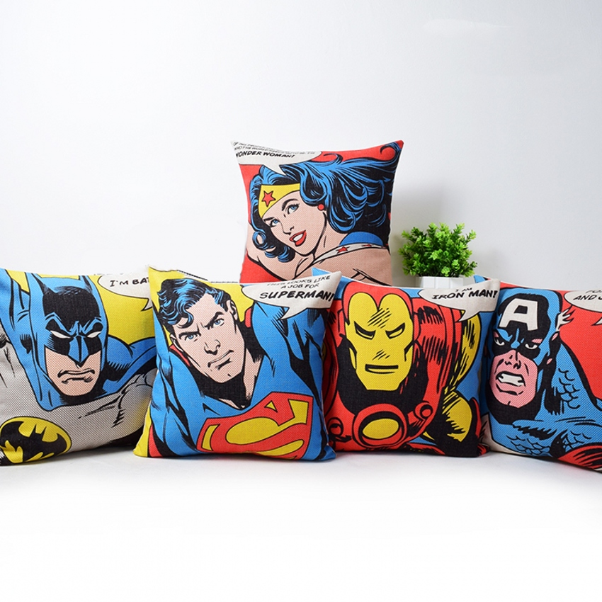 Wonder Woman Superman Cushion Covers Super Hero Batman Pillow Cover Bedroom Sofa