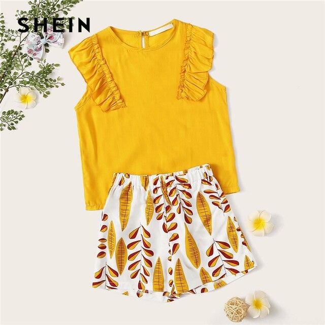SHEIN Kiddie/Блуза с отделкой и оборками для маленьких девочек; шорты с принтом растений; детская одежда; коллекция 2019 года; Летние праздничные милые комплекты одежды в стиле бохо