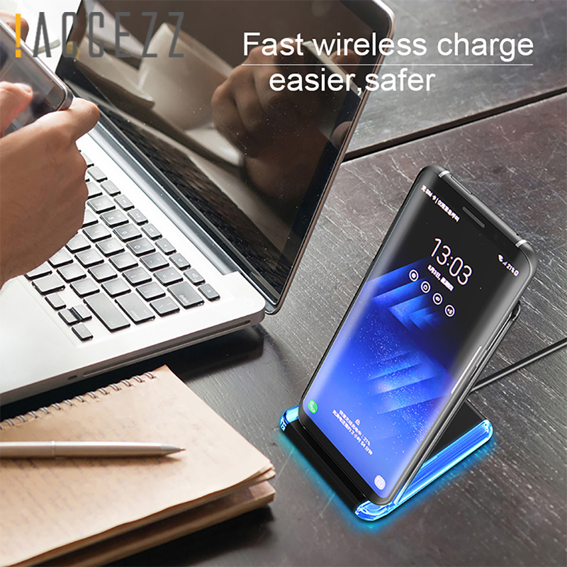 ACCEZZ Qi Wireless Charger For iPhone 8 X MAX Samsung S9 For Xiaomi mi9 mi8 HTC Phone Charging Pad Stand Dock 10W Fast Charge in Mobile Phone Chargers from Cellphones Telecommunications