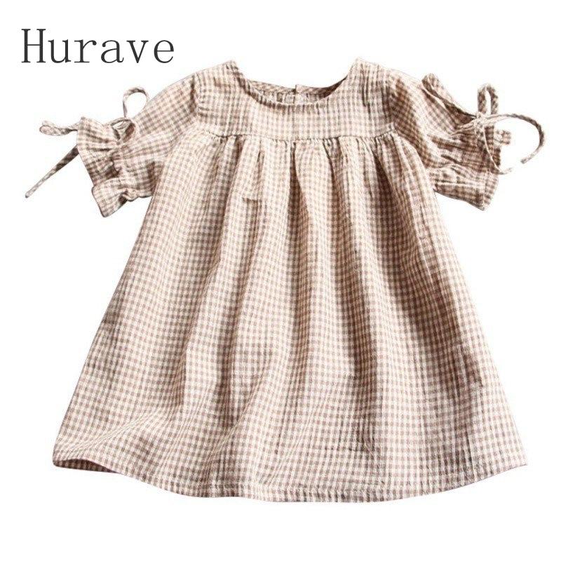 Hurave 2017 Spring Summer Fashion Girls Dress Cotton P O Collar Girl Kids Short Sleeve Dress