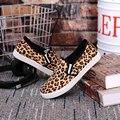 Холст обувь leopard обувь женщина ставший через край chaussure femme скольжения на обувь для женщин круглый носок дешевые обувь torem желтый