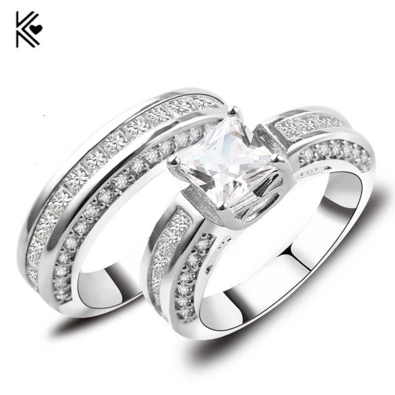 2019 New White Crystal Zircon Ring Set for Women Men Engagement Double Rings White Gold Filled CZ Birthstone Jewelry Accessories