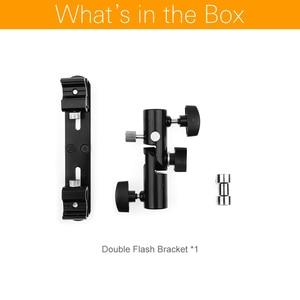 """Image 2 - Black Swivel Camera Double Flash Umbrella Holder Hot Shoe Stand Bracket Tripod Double Flash Bracket 1/4"""" 3/8"""