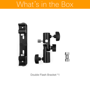 """Image 2 - สีดำหมุนกล้องคู่ร่มแฟลชที่ยึดขาตั้งขาตั้งกล้อง Double Bracket 1/4 """"3/8"""