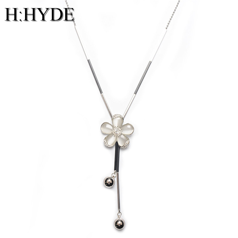 H:HYDE Fashion Flower Crystal Long Sweater Chain Circles Necklace Vintage Accessary Crystal Collares Statement Jewelry For Women