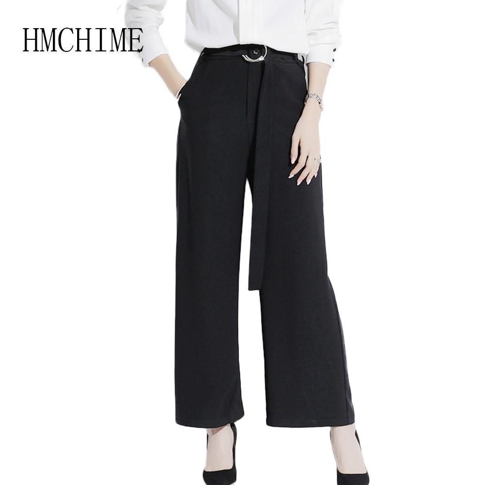 Boutique Ol Women Trousers High Waist Zipper Fly   Wide     Leg     Pants   2018 Autumn Solid Bandage Female Bottoms Elegant Office   Pants