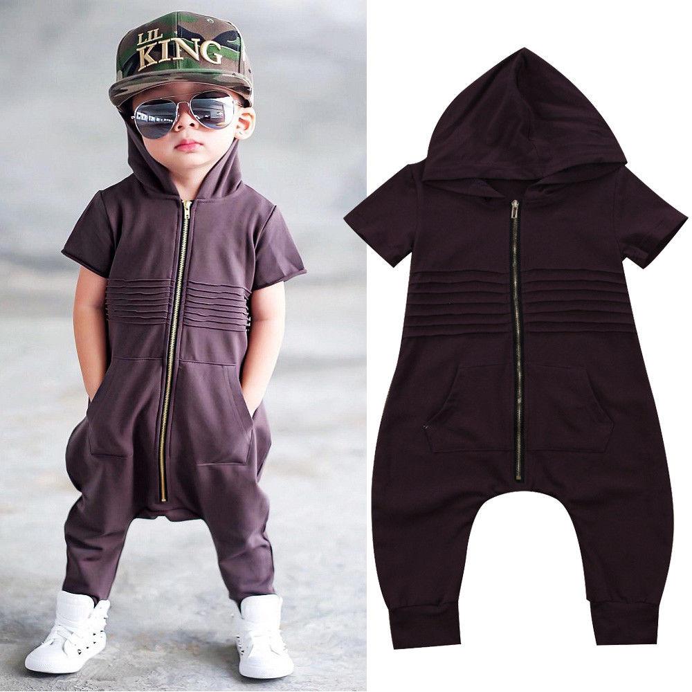 UK Stock Newborn Baby Boys Hooded Zipper Romper romper baby clothes baby boy clothes Playsuit Outfit Clothes