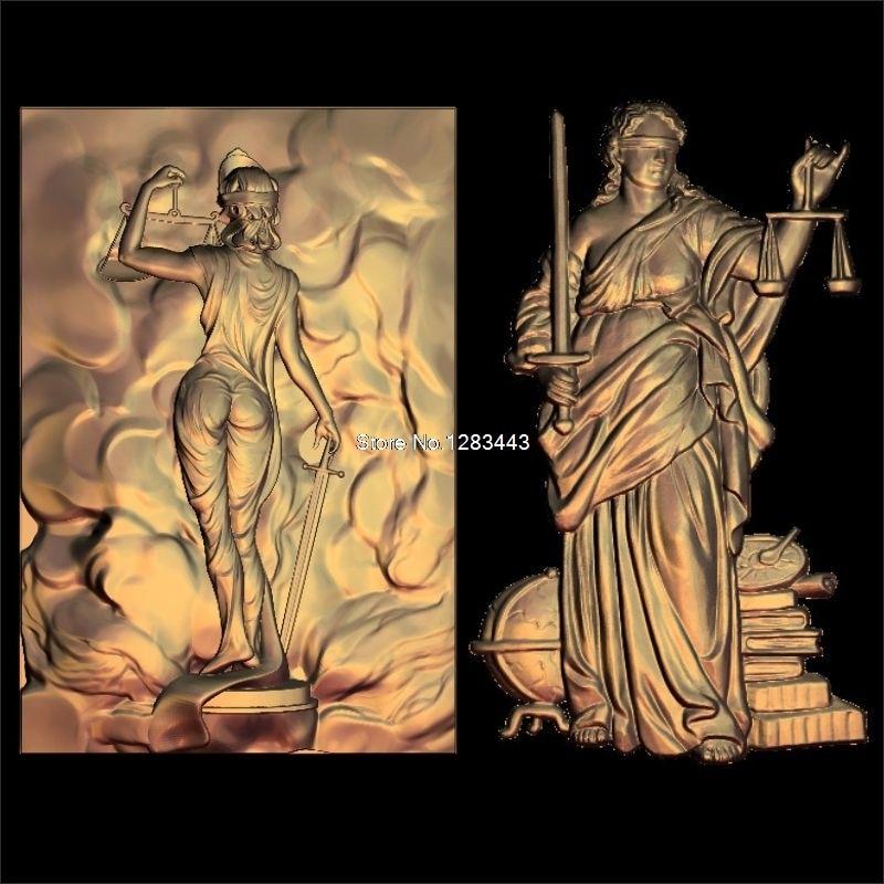 2pcs Lady Justice 3d Model STL Relief For Cnc STL Format Goddess Of Justice 3d Model For Cnc Stl Relief Artcam Vectric Aspire