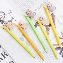 2pcs/lot Creative Cute little monkey gel pen 0.38mm Gift Stationery office school supplies Kawaii Decorative writing Neutral