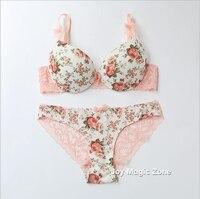 Yomrzl vendita calda del cotone reggiseno delle donne e breve set fiore set arco del reggiseno 3/4 tazza spinge verso l'alto insieme della biancheria intima lingerie L707