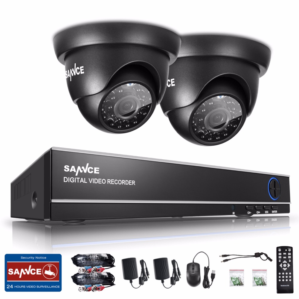 SANNCE 4CH 720P HD CCTV System 1080N HDMI 5IN1 DVR 2PCS 1280TVL 1.0MP Security Cameras 720P Home CCTV Video Surveillance kit
