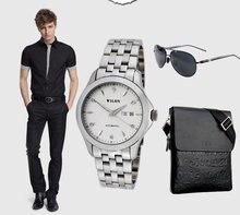 Wilon veyron календарь тонкой стальной бизнес мужские часы автоматические механические часы неделя белый мужчины механические часы