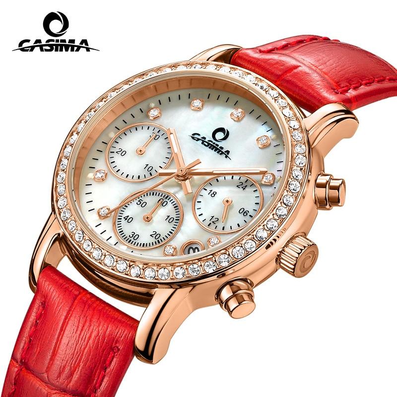Fashion Luxury brand watches women Elegent leisure gold crystal women s quartz wrist watch red leather