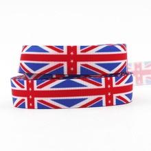 """[IuBuFiGo] 5/"""" 16 мм английская лента с флагом Grosgrain напечатанная DIY лента 100 ярдов/лот"""