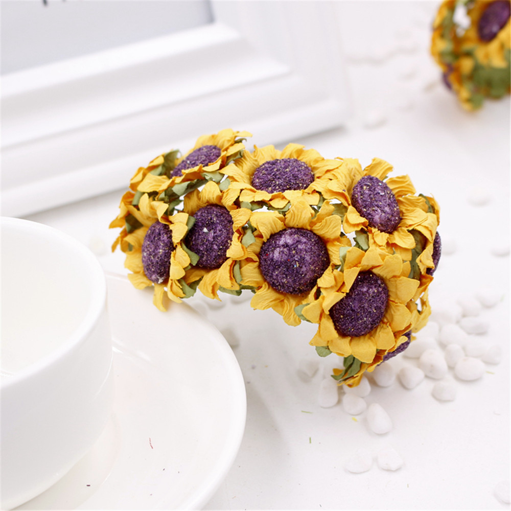 Diy thanksgiving paper decor - 50pcs Lot 30mm Man Made Paper Sunflower Bouquet Wedding Or Party Party Gift Box