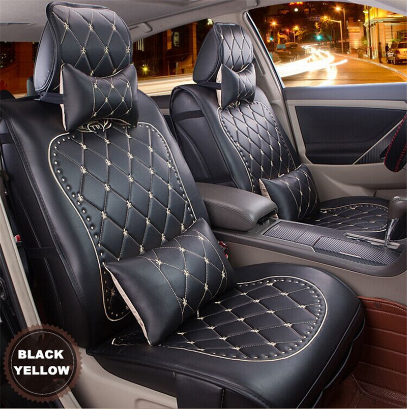 High Quality Luxury Danny Leather Car Seat Cover Universal Cute Covers Fashion Grid Cushion In Automobiles From