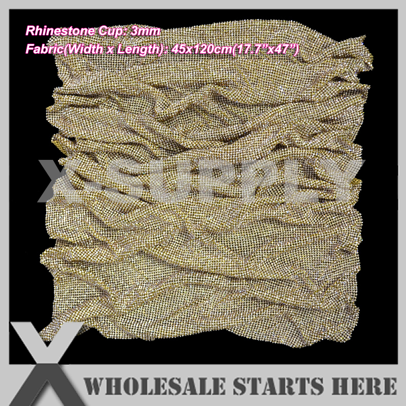 P2 3mm Metal Rhinestone Fabric Mesh Sheet in Gold Metal Base Without Iron On Glue,Used For Garment,Collar,Shoes,Table