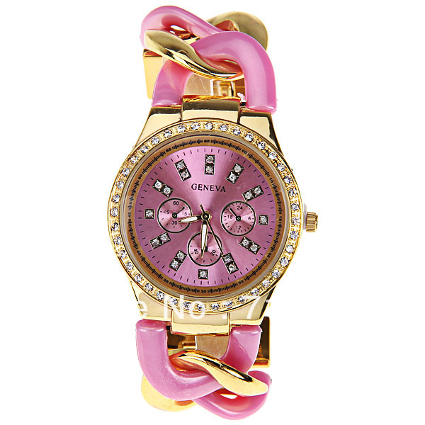Original PictureGeneva Quartz Watch with Diamonds Strips Indicate Plastic and Steel Band for Women (Pink)