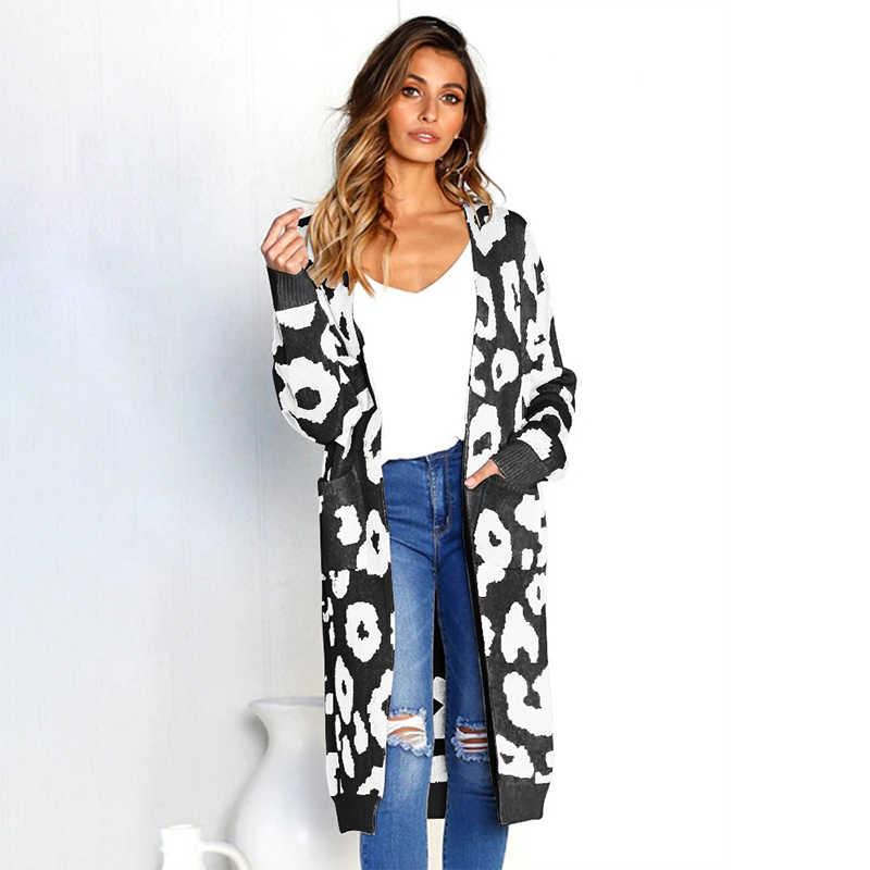 Леопардовый длинный кардиган женский дизайнерский весна осень зима женский свитер пальто модный теплый длинный рукав вязаный кардиган CDR551