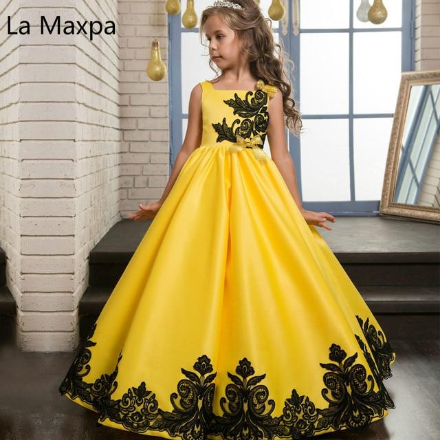 New Classic Bright Yellow Lace Satin Cloth Temperament Girls Birthday Party Dance Performance Children Wedding Dress