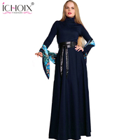 Long Sash Belt Dress Women Winter 2018 Vintage Evening Party Dresses Floor Length Large Size Bandage
