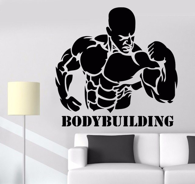 fitness gym wall decal sport quote bodybuilding activity muscle man